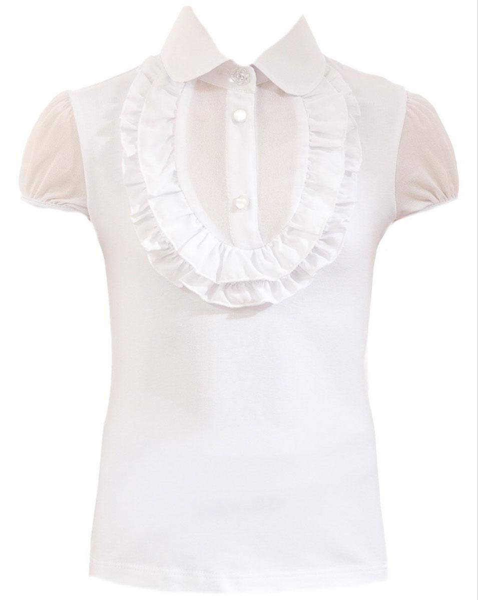 Блузка для девочки Nota Bene, цвет: белый. CJR26006A-1. Размер 128CJR26006A-1/CJR26006B-1Стильная блузка для девочки Nota Bene идеально подойдет вашей дочурке. Изготовленная из хлопка с добавлением полиэстера и лайкры, она мягкая и приятная на ощупь, не сковывает движения, эластична, износоустойчива и позволяет коже дышать, обеспечивая наибольший комфорт. Блузка с короткими рукавами-фонариками и отложным воротничком застегивается на пластиковые пуговицы. Модель оформлена рюшами на груди. Современный дизайн и расцветка делают эту блузку стильным предметом детского гардероба.