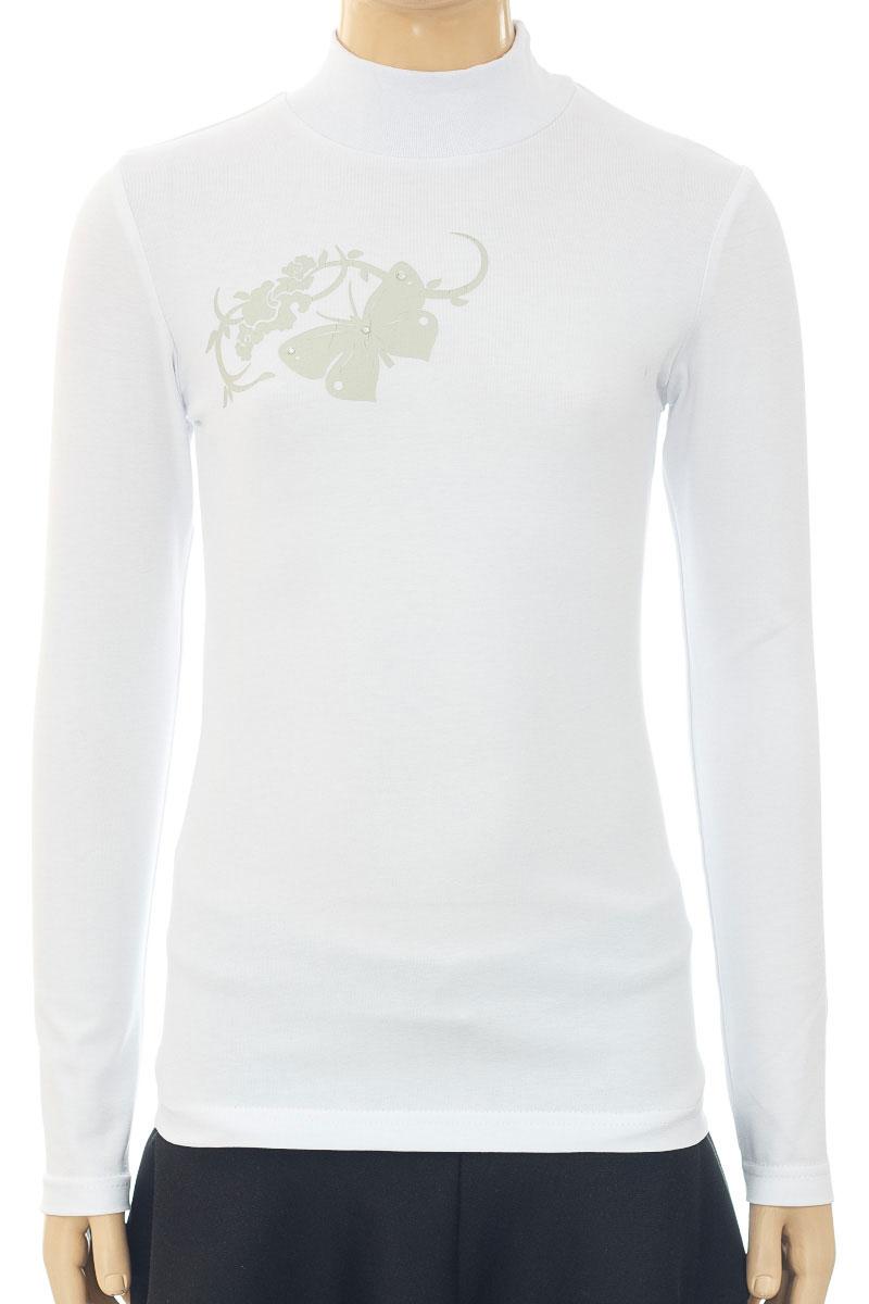 Водолазка для девочки M&D, цвет: белый. WJO26060A-1. Размер 116WJO26060A-1/WJO26060B-1Водолазка для девочки M&D выполнена из хлопка и лайкры. Модель с длинными рукавами оформлена оригинальным принтом.