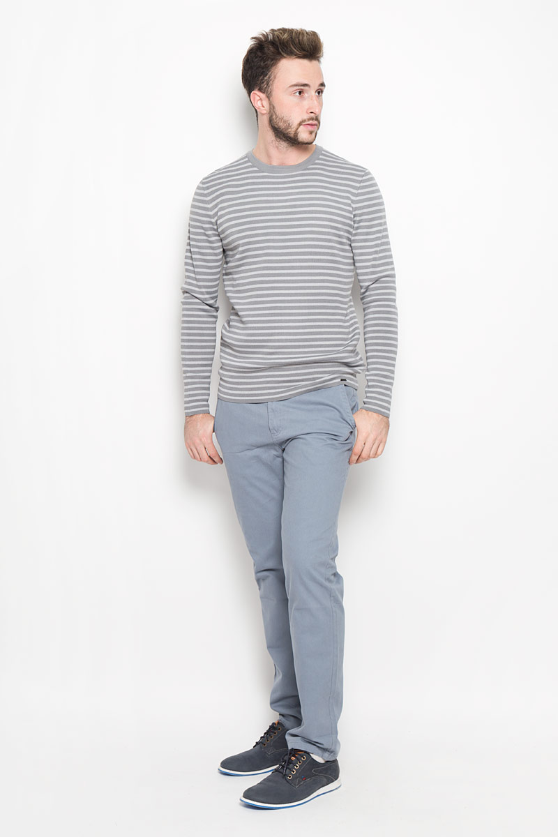 Джемпер мужской Finn Flare, цвет: серый. W16-42102_205. Размер M (48)W16-42102_205Стильный мужской джемпер Finn Flare необычайно мягкий и приятный на ощупь, не сковывает движения, обеспечивая наибольший комфорт. Джемпер с круглым вырезом горловины и длинными рукавами идеально гармонирует с любыми предметами одежды и будет уместен и на отдых, и на работу. Модель оформлена принтом в полоску.Такой замечательный джемпер - базовая вещь в гардеробе современного мужчины, желающего выглядеть стильно каждый день!
