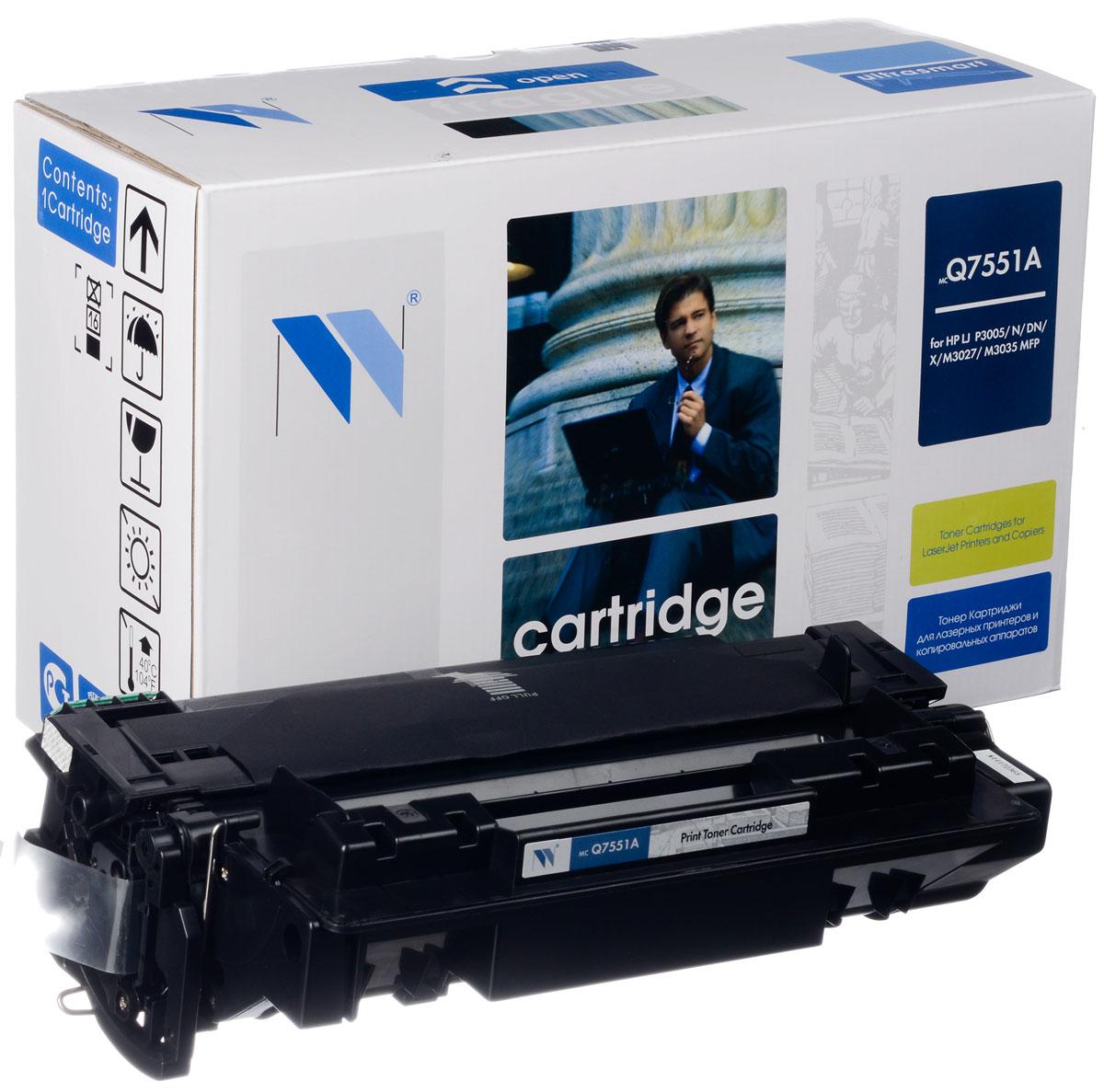 NV Print Q7551A, Black тонер-картридж для HP LaserJet P3005/M3027mpf/M3035mpfNV-Q7551AСовместимый лазерный картридж NV Print Q7551A для печатающих устройств HP - это альтернатива приобретению оригинальных расходных материалов. При этом качество печати остается высоким. Картридж обеспечивает повышенную чёткость чёрного текста и плавность переходов оттенков серого цвета и полутонов, позволяет отображать мельчайшие детали изображения.Лазерные принтеры, копировальные аппараты и МФУ являются более выгодными в печати, чем струйные устройства, так как лазерных картриджей хватает на значительно большее количество отпечатков, чем обычных. Для печати в данном случае используются не чернила, а тонер.