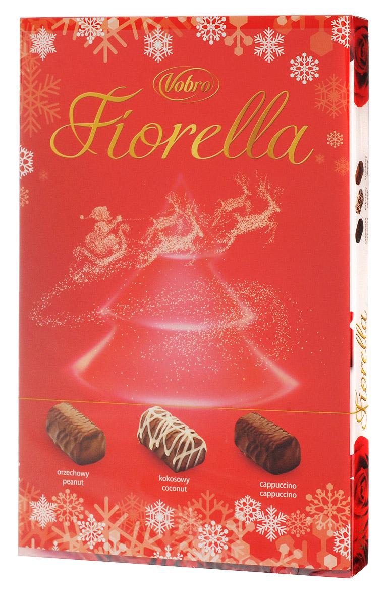 Vobro Fiorella набор шоколадных конфет, 140 г9352Vobro Fiorella - это 3 дополнительных вкуса, создающих набор, который не надоест. Под деликатным шоколадом скрыт вкус кокоса, ореха и капучино. Такая коробка конфет будет идеальным подарком вместо одних цветов. Такой набор, несомненно, порадует каждую женщину.