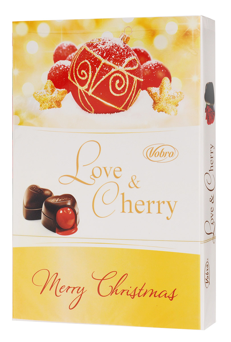 Vobro Love&Cherry Любовь и вишня набор шоколадных конфет вишня в ликере, 187 г vobro cherry paradise набор шоколадных конфет вишня в ликере 105 г