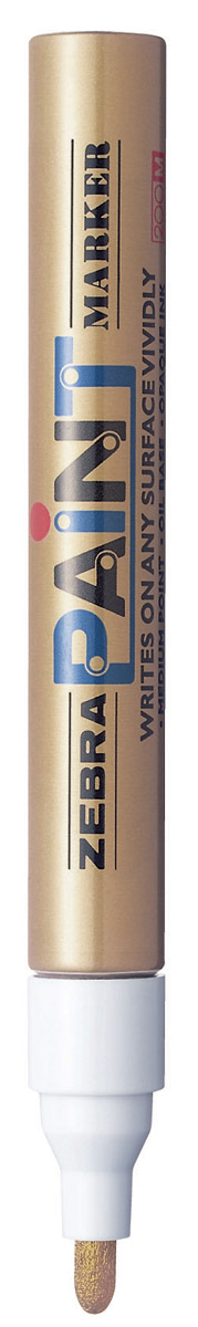 Zebra Маркер перманентный Paint цвет золотой312 203061Маркер перманентный Paint с износоустойчивым амортизированным наконечником, выполненный из пластика, станет незаменимым аксессуаром в учебе или работе.Маркер содержит жидкие чернила золотого цвета, которые обеспечивают ровные и четкие линии. Насыщенный цвет сплошной линии, оставляемый маркером, не зависит от цвета окрашиваемой поверхности. Маркер перманентный Paint пишет на любой поверхности.