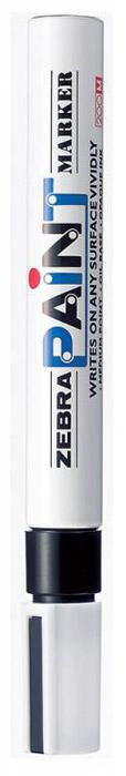 Zebra Маркер перманентный Paint черный312 203010Маркер перманентный Paint с износоустойчивым амортизированным наконечником станет незаменимым аксессуаром в учебе или работе.Маркер содержит жидкие чернила черного цвета, которые обеспечивают ровные и четкие линии. Насыщенный цвет сплошной линии, оставляемый маркером, не зависит от цвета окрашиваемой поверхности. Маркер перманентный Paint пишет на любой поверхности.