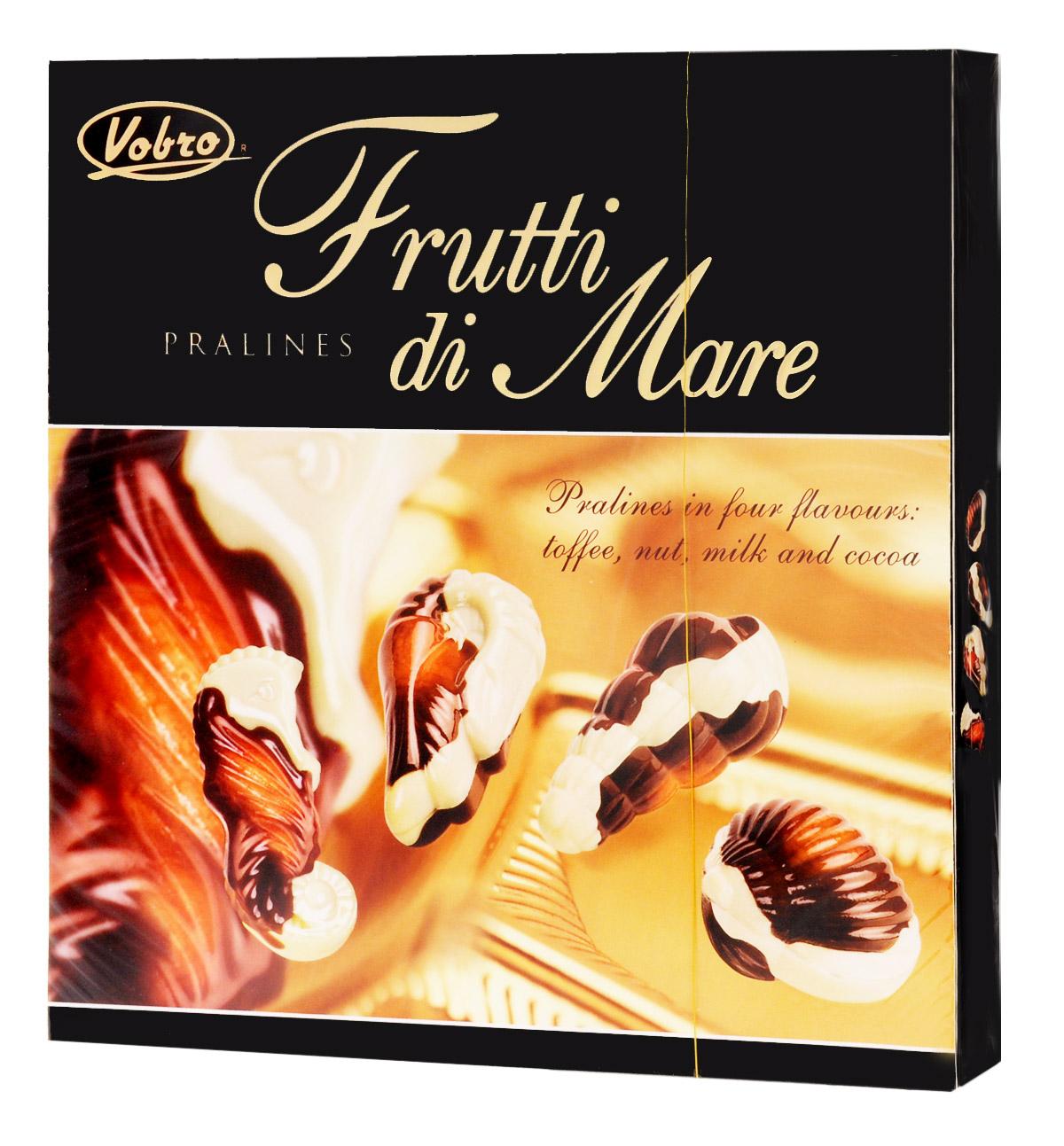 Vobro Frutti di Mare набор шоколадных конфет в виде морских ракушек, 250 г9351Уникальная форма и неповторимый вкус… Такими являются конфеты Vobro Frutti di Mare в виде морепродуктов. Прекрасная композиция белого и черного шоколада, и к тому же начинка 4 вкусов: какао, ореховый, молочный и тоффи.Vobro Frutti di Mare - это значимый подарок, с помощью которого легко показать, как сильно вам дорог человек.