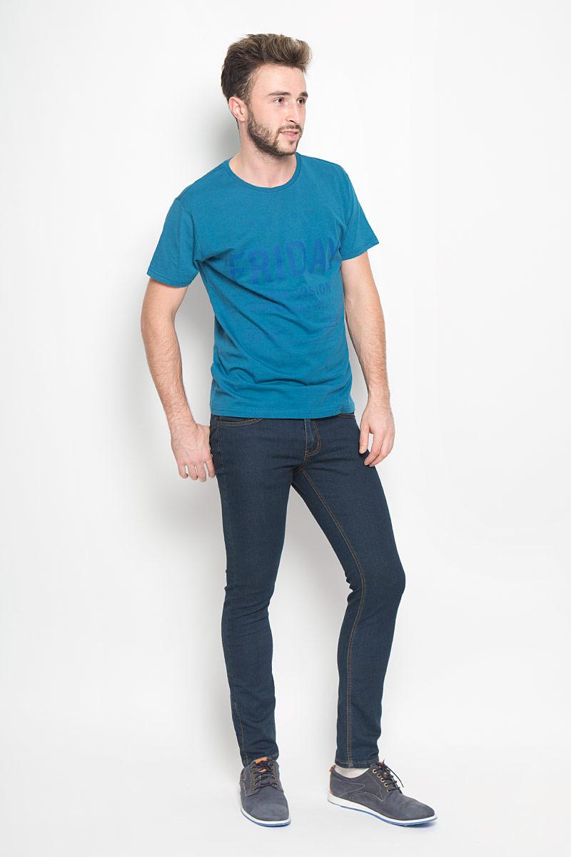 Джинсы мужские Broadway Tyler, цвет: темно-синий. 20100342. Размер 33-32 (48/50-32)20100342_537Стильные мужские джинсы Broadway Tyler выполнены из качественного денима. Джинсы-слим застегиваются на молнию и пуговицу. На поясе предусмотрены шлевки для ремня. Модель имеет классический пятикарманный крой: спереди - два втачных кармана и один маленький накладной, а сзади - два накладных кармана. Изделие оформлено прострочкой, украшено фирменной нашивкой.