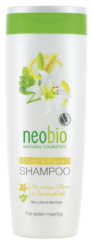 Neobio шампунь для восстановления и блеска волос с био-лилией и морингой 250 мл косметика для новорожденных neobio детский шампунь гель для волос и тела с био алоэ и био календулой