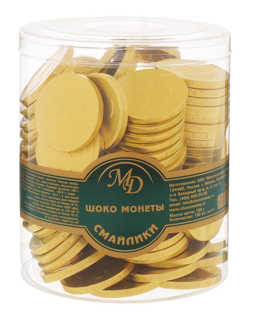 Монетный двор Шоколадные монеты Смайлик, 120 шт по 6 г (пластиковая банка)10381Шоколад не зря ценился нашими предками на вес золота - в этом продукте кроются удивительные свойства, которые способствуют поднятию настроения и дарят улыбку, не говоря уже об удивительном, ярком вкусе, которым обладает настоящий шоколад отборных сортов. Все эти качества, а еще необычный внешний вид сошлись в одном из самых популярных продуктов - шоколадных монетах.Поделиться улыбкой теперь стало еще проще - просто подарите ближнему шоколадную монету Смайлик!
