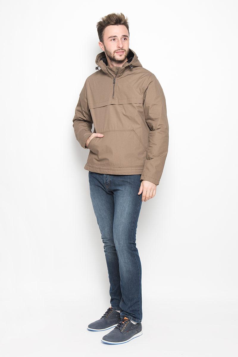 Куртка-анорак мужская Broadway Ontario, цвет: коричневый. 20100317. Размер M (48)20100317_773Мужская куртка-анорак Broadway Ontario выполнена из полиэстера и хлопка. Подкладка изготовлена из гладкого материала. В качестве утеплителя используется полиэстер. Модель с капюшоном застегивается на небольшую молнию сбоку. Для комфорта и удобства куртка имеет на груди застежку-молнию. Капюшон дополнен по краю затягивающимся эластичным шнурком со стопперами. Спереди расположен большой карман-кенгуру.