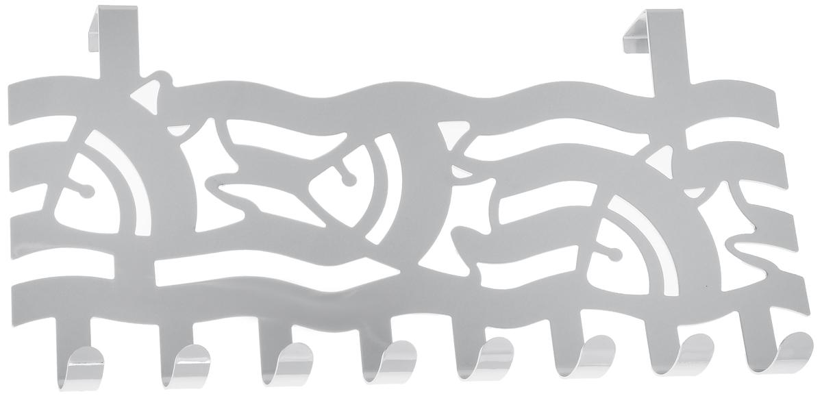 Вешалка на дверь Axentia Волны с рыбками, 8 крючков, 40 х 4,9 х 22 см115914_волны с рыбкамиВешалка Axentia Волны с рыбками, выполненная из высококачественной хромированной стали, устойчивой к коррозии. Подойдет для дверцы различных шкафов, тумб, сервантов, комодов, в ванной, прихожей или гостиной. Крепиться как на внутреннюю, так и на внешнюю сторону. Количество крючков: 8 шт.Ширина крепления: 2 см.