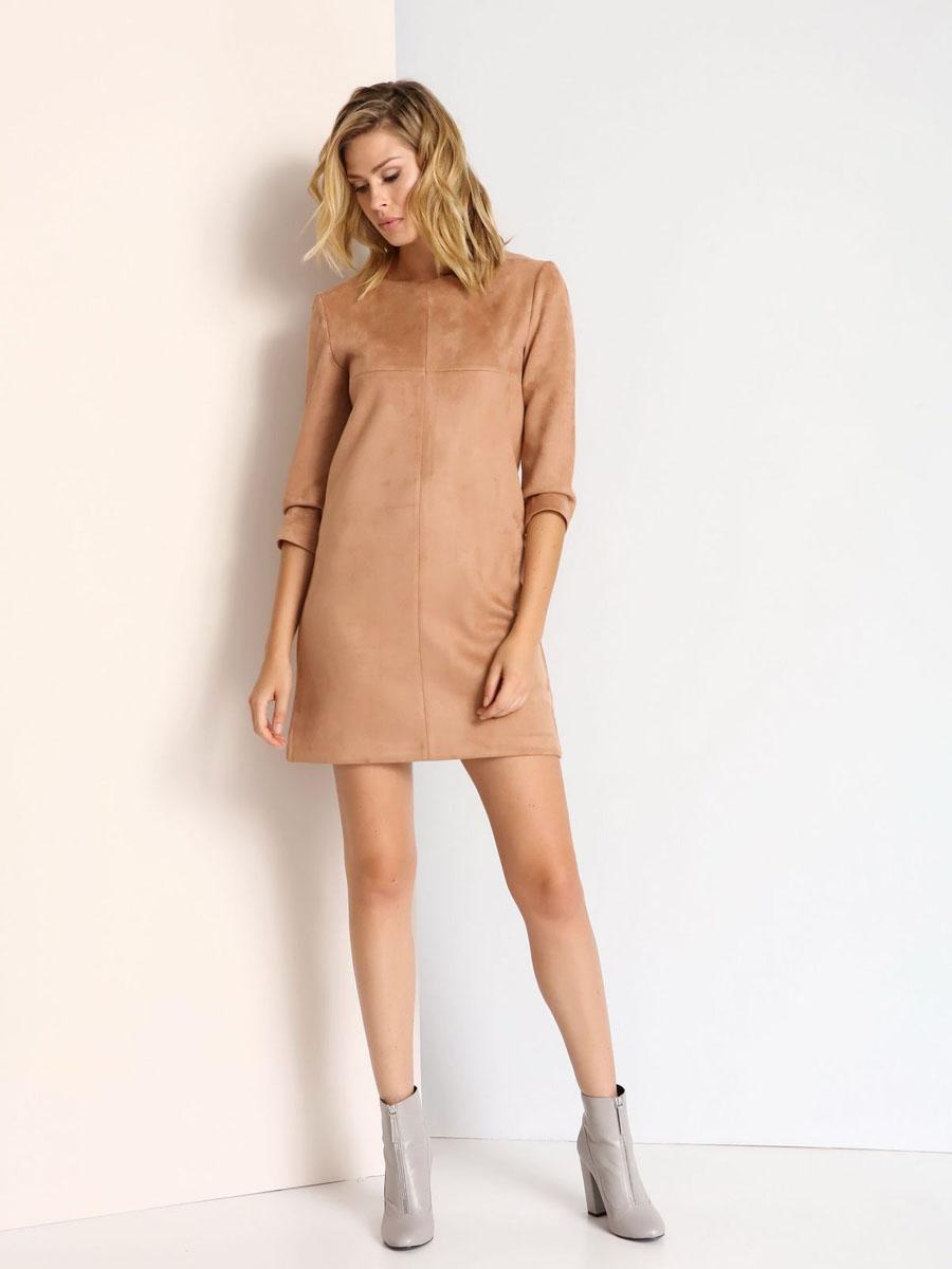 Платье Top Secret, цвет: бежевый. SSU1679BE. Размер 42 (48)SSU1679BEСтильное платье Top Secret выполнено из полиэстера с добавлением эластана. Модель с круглым вырезом горловины и рукавами 3/4. Платье прямого кроя на спинке застегивается на скрытую застежку-молнию.