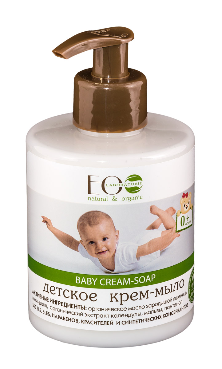 EO laboratorie Крем-мыло детское 300 мл4627089431370Универсальный продукт для ухода за малышом. Прекрасно подходит для мытья самых нежных и чувствительных участков детской кожи, для частого использования, в том числе при смене подгузника. Органический экстракт календулы оказывает противовоспалительное, антибактериальное действие. Экстракт мальвы, входящий в состав крем-мыла, обеспечивает обволакивающее и смягчающее действие, что особенно важно при частых гигиенических процедурах. Органическое масло зародышей пшеницы быстро восстанавливает, питает и заживляет чувствительную, в том числе и склонную к аллергии кожу.