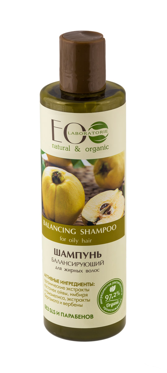 EO laboratorie Шампунь для жирных волос Балансирующий 250 мл4627089431479Эффективно очищает волосы, предохраняя их от быстрого загрязнения. Помогает нормализовать водно-жировой баланс кожи, способствует улучшению состояния кожи головы и волос, делает волосы более послушными для укладки. Оказывает антисептическое действие.Активные ингредиенты: органический экстракт косточек айвы, экстракт бергамота, экстракты вербены и гамамелиса, органический экстракт имбиря.
