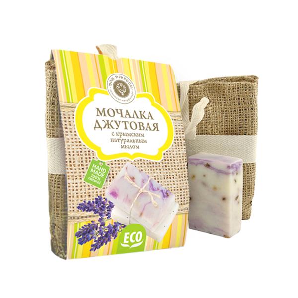 Мануфактура Дом природы Джутовая мочалка + мыло Лаванда, 80 г крымское мыло в одессе