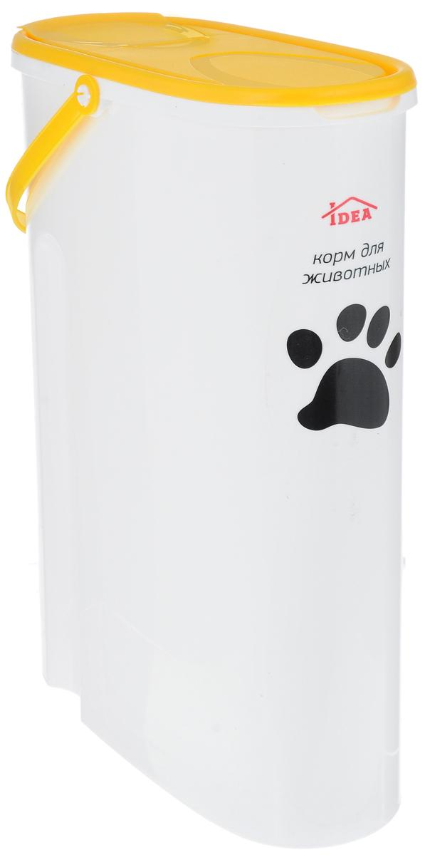 Контейнер Idea для хранения корма, цвет: желтый, 5 лМ 1242_желтыйКонтейнер Idea, изготовленный из высококачественного пластика, предназначен для хранения корма для животных. Крышку можно полностью снять или просто приподнять ее небольшую часть. Контейнер оснащен ручкой, благодаря которой можно без проблем переносить с места на место.В таком контейнере корм останется всегда свежим.