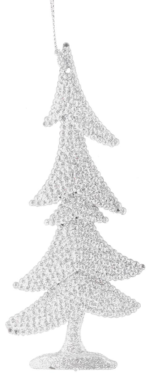 Украшение новогоднее подвесное Magic Time Серебряная елочка, высота 15 см украшение новогоднее оконное magic time дед мороз с самоваром двустороннее 30 х 32 см