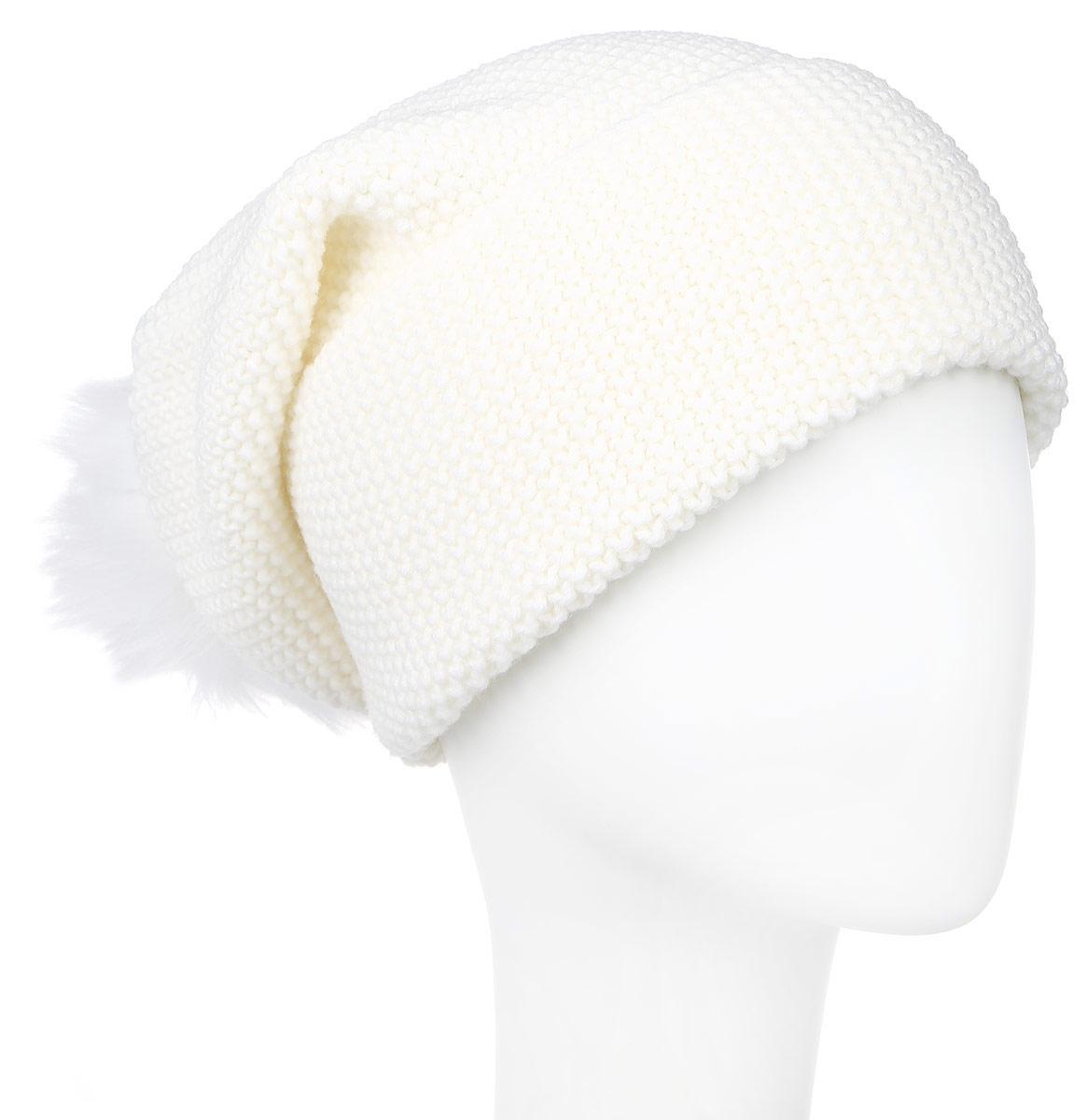 Шапка женская Baon, цвет: молочный. B346539. Размер универсальныйB346539_MILKВязаная женская шапка Baon выполнена из высококачественной комбинированной пряжи из шерсти и акрила, что позволяет ей великолепно сохранять тепло и обеспечивает высокую эластичность и удобство посадки. Шапка украшена крупным помпоном из натурального меха на макушке.