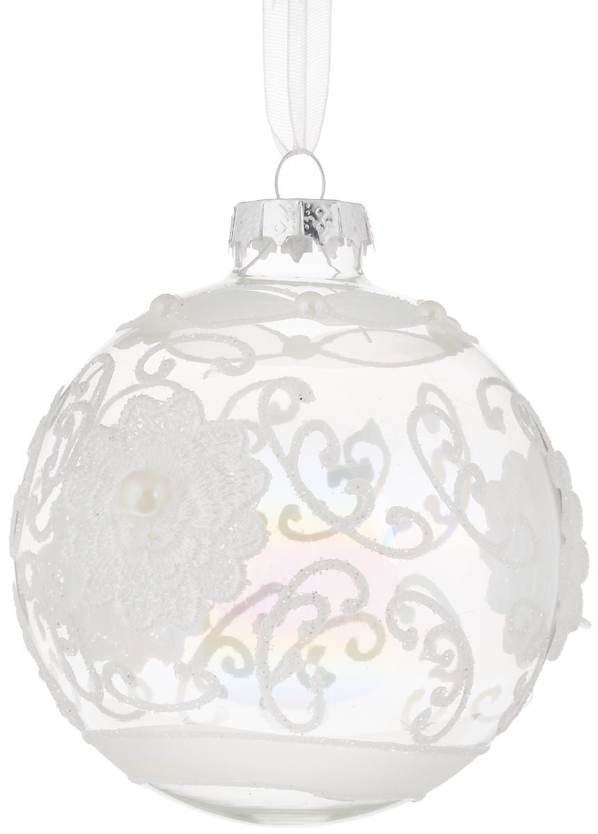 Украшение новогоднее подвесное шар Magic Time Радужный иней, диаметр 8 см42331Новогоднее подвесное украшение Magic Time Радужный иней выполнено из стекла в виде шара и украшено красивым рисунком с блестками и полубусинами. С помощью специальной петельки украшение можно повесить в любом понравившемся вам месте. Но, конечно, удачнее всего оно будет смотреться на праздничной елке.Елочная игрушка - символ Нового года. Она несет в себе волшебство и красоту праздника. Создайте в своем доме атмосферу веселья и радости, украшая новогоднюю елку нарядными игрушками, которые будут из года в год накапливать теплоту воспоминаний.Материал: стекло.Диаметр: 8 см.