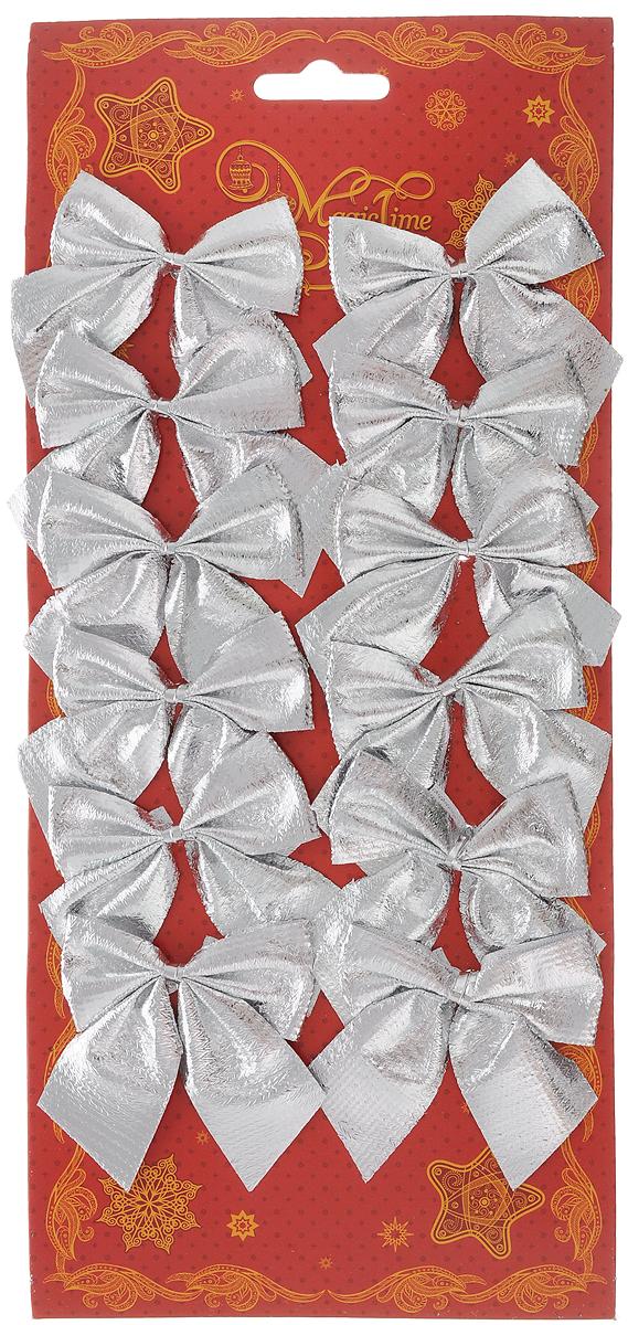Украшение новогоднее Magic Time Бант. Мерцание серебра, цвет: серебристый, 5 х 5 см, 12 шт42769Новогоднее украшение Magic Time Бант. Мерцание серебра отлично подойдет для декорации вашего дома и новогодней ели. Игрушка выполнена из полиэстера в виде бантика. Украшение можно привязать к ели.Елочная игрушка - символ Нового года. Она несет в себе волшебство и красоту праздника. Создайте в своем доме атмосферу веселья и радости, украшая всей семьей новогоднюю елку нарядными игрушками, которые будут из года в год накапливать теплоту воспоминаний.