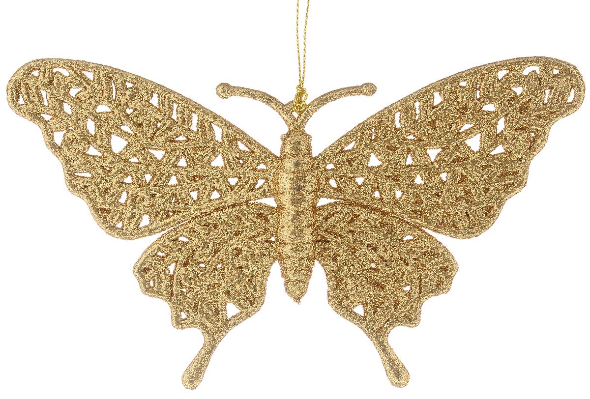 Украшение новогоднее подвесное Magic Time Золотая бабочка, высота 10 см42097/75075Новогоднее подвесное украшение Magic Time Золотая бабочка выполнено из полипропилена в виде бабочки и украшено блестками. С помощью специальной петельки украшение можно повесить в любом понравившемся вам месте. Но, конечно, удачнее всего оно будет смотреться на праздничной елке.Елочная игрушка - символ Нового года. Она несет в себе волшебство и красоту праздника. Создайте в своем доме атмосферу веселья и радости, украшая новогоднюю елку нарядными игрушками, которые будут из года в год накапливать теплоту воспоминаний.