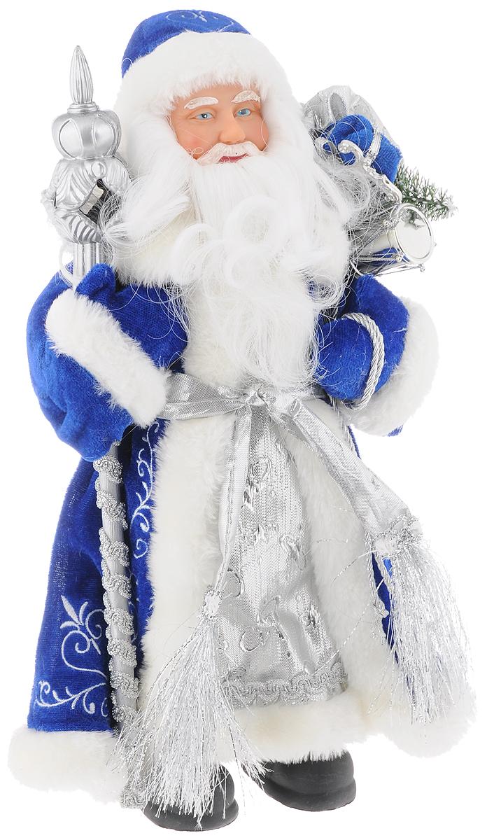 Фигурка новогодняя Феникс-Презент Дед мороз в синем костюме, высота 30 см дед мороз в синем 30 см мех муз песня в лесу родилась елочка