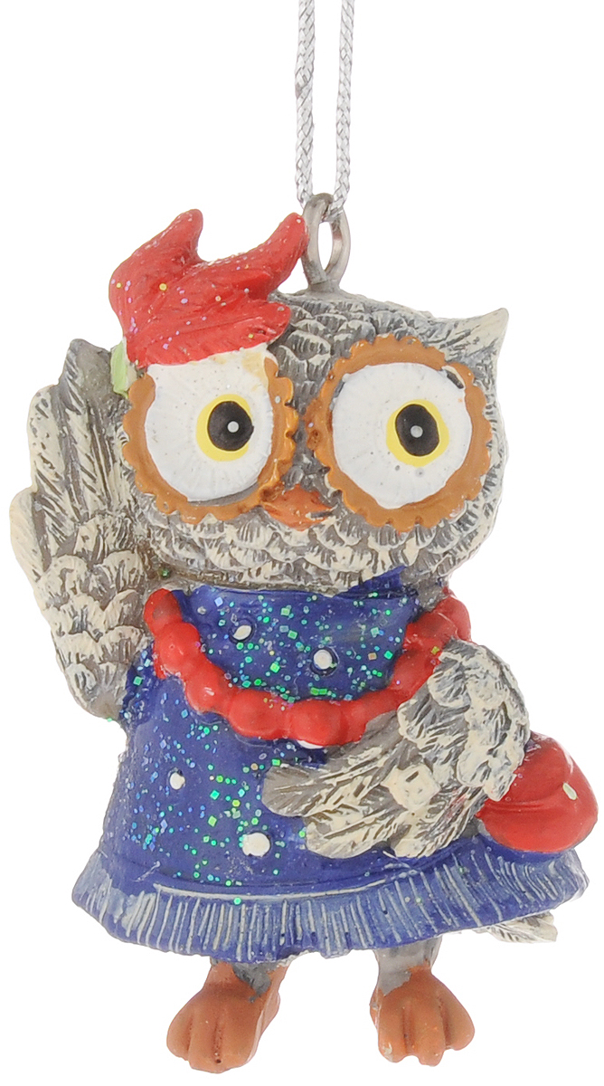 Украшение новогоднее подвесное Феникс-Презент Сова-модница, высота 5,7 см42179Новогоднее подвесное украшение Феникс-Презент Сова-модница выполнено из полирезины в виде совы и украшено блестками. С помощью специальной петельки украшение можно повесить в любом понравившемся вам месте. Но, конечно, удачнее всего оно будет смотреться на праздничной елке.Елочная игрушка - символ Нового года. Она несет в себе волшебство и красоту праздника. Создайте в своем доме атмосферу веселья и радости, украшая новогоднюю елку нарядными игрушками, которые будут из года в год накапливать теплоту воспоминаний.