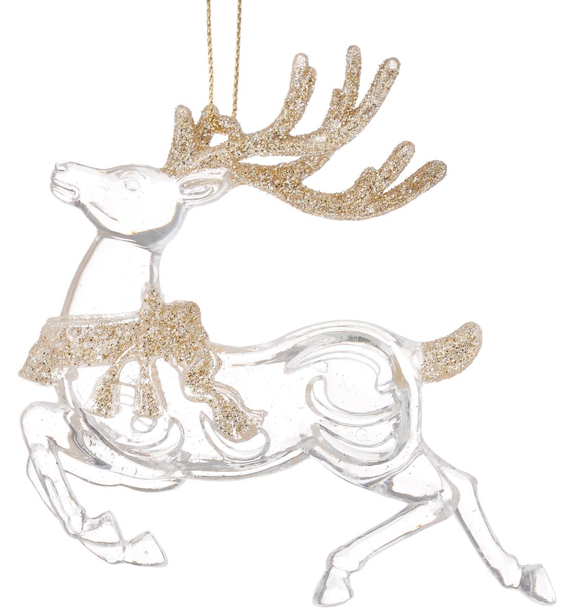 Украшение новогоднее подвесное Magic Time Сказочные олени в золотом, высота 10,8 см38586Новогоднее подвесное украшение Magic Time Сказочные олени в золотомвыполнено из пластика в виде оленя и украшено блестками. С помощьюспециальной петельки украшение можно повесить в любом понравившемся вамместе. Но, конечно, удачнее всего оно будет смотреться на праздничной елке.Елочная игрушка - символ Нового года. Она несет в себе волшебство и красотупраздника. Создайте в своем доме атмосферу веселья и радости, украшаяновогоднюю елку нарядными игрушками, которые будут из года в год накапливатьтеплоту воспоминаний.