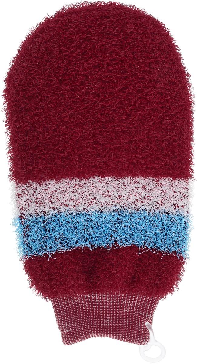 Мочалка-рукавица массажная Riffi, цвет: красный, белый, голубой riffi мочалка рукавица массажная двухсторонняя цвет синий