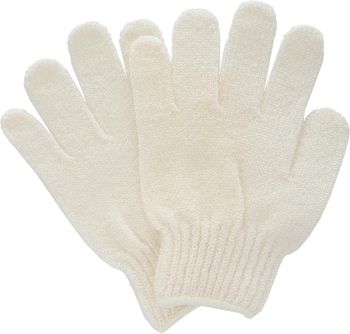 Перчатки для пилинга Riffi, цвет: молочный28143Эластичные безразмерные перчатки Riffi обладают активным антицеллюлитным эффектом и отличным пилинговым действием, тонизируя, массируя и эффективно очищая вашу кожу. Перчатки Riffi освобождает кожу от отмерших клеток, стимулирует регенерацию. Эффективно предупреждают образование целлюлита и обеспечивают омолаживающий эффект. Кожа становится гладкой, упругой и лучше готовой к принятию косметических средств. Интенсивный и пощипывающий свежий массаж тела с применением перчаток Riffi стимулирует кровообращение, активирует кровоснабжение, способствует обмену веществ.В комплекте 1 пара перчаток.