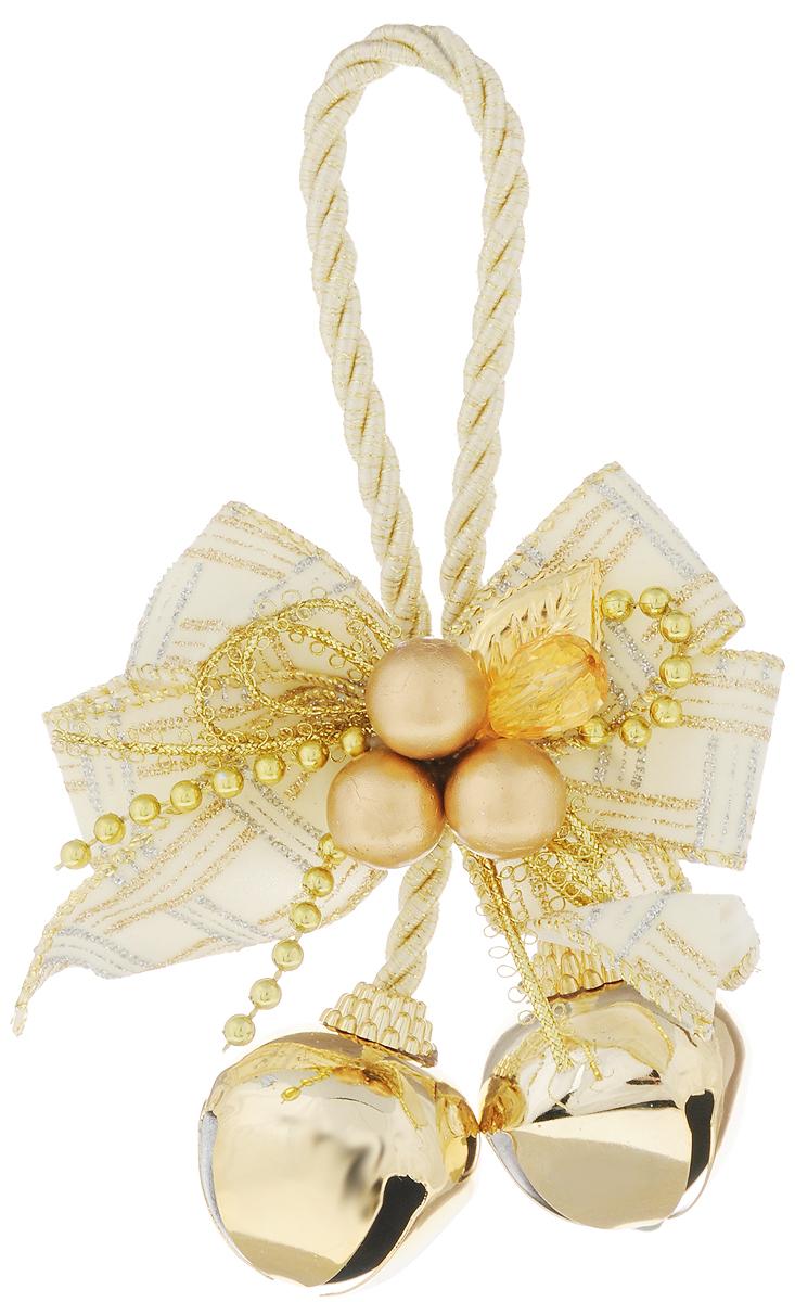 Украшение новогоднее подвесное Magic Time Золотые бубенцы с белым бантиком, высота 10,2 см трынцы брынцы бубенцы