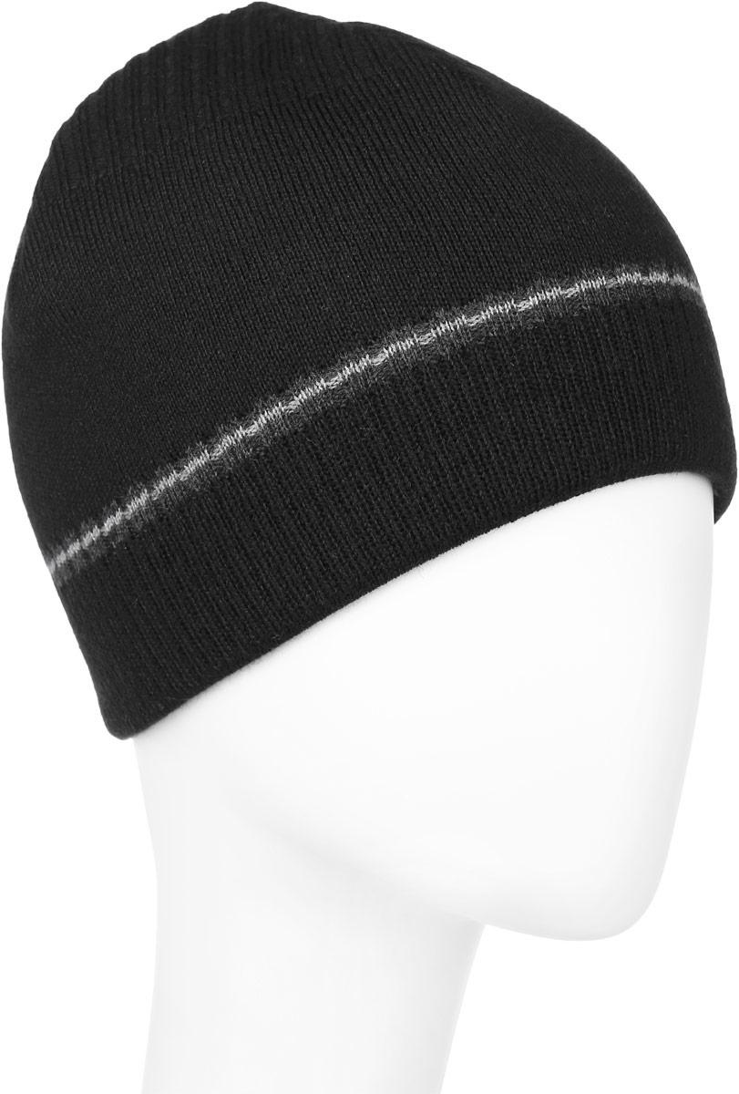 Шапка мужская Baon, цвет: черный. B846532. Размер универсальныйB846532_BLACKВязаная мужская шапка Baon выполнена из шерсти и акрила. Модель оформлена контрастной полоской, внутренняя сторона украшена узором в клетку.