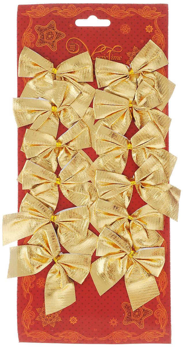 Украшение новогоднее Magic Time Бант. Мерцание золота, цвет: золотой, 5 х 5 см, 12 шт42768/76238Новогоднее украшение Magic Time Бант. Мерцание золота отлично подойдет для декорации вашего дома и новогодней ели. Игрушка выполнена из полиэстера в виде бантика. Украшение можно привязать к ели. Елочная игрушка - символ Нового года. Она несет в себе волшебство и красоту праздника. Создайте в своем доме атмосферу веселья и радости, украшая всей семьей новогоднюю елку нарядными игрушками, которые будут из года в год накапливать теплоту воспоминаний.