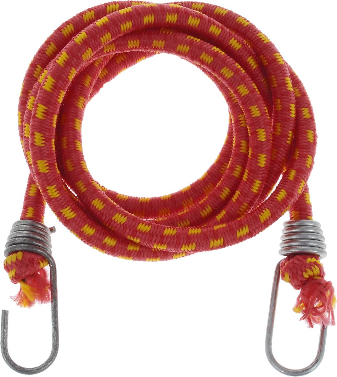 Резинка багажная МастерПроф, с крючками, цвет: красный, желтый, 1 х 190 смАС.020027_красный, желтыйБагажная резинка МастерПроф, выполненная из синтетического каучука, оснащена специальными металлическими крюками, которые обеспечивают прочное крепление и не допускают смещения груза во время его перевозки. Изделие применяется для закрепления предметов к багажнику. Такая резинка позволит зафиксировать как небольшой груз, так и довольно габаритный.Температура использования: -15°C до +50°C.Безопасное удлинение: 60%.Толщина резинки: 1 см.Длина резинки: 190 см.