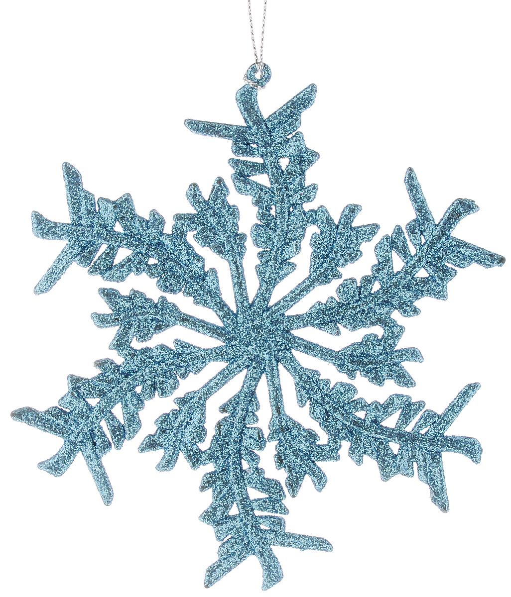 Украшение новогоднее подвесное Magic Time Снежинка с голубым глиттером, высота 14 см38715Новогоднее подвесное украшение Magic Time Снежинка с голубым глиттером выполнено из полипропилена в виде снежинки и украшено блестками. С помощью специальной петельки украшение можно повесить в любом понравившемся вам месте. Но, конечно, удачнее всего оно будет смотреться на праздничной елке.Елочная игрушка - символ Нового года. Она несет в себе волшебство и красоту праздника. Создайте в своем доме атмосферу веселья и радости, украшая новогоднюю елку нарядными игрушками, которые будут из года в год накапливать теплоту воспоминаний.