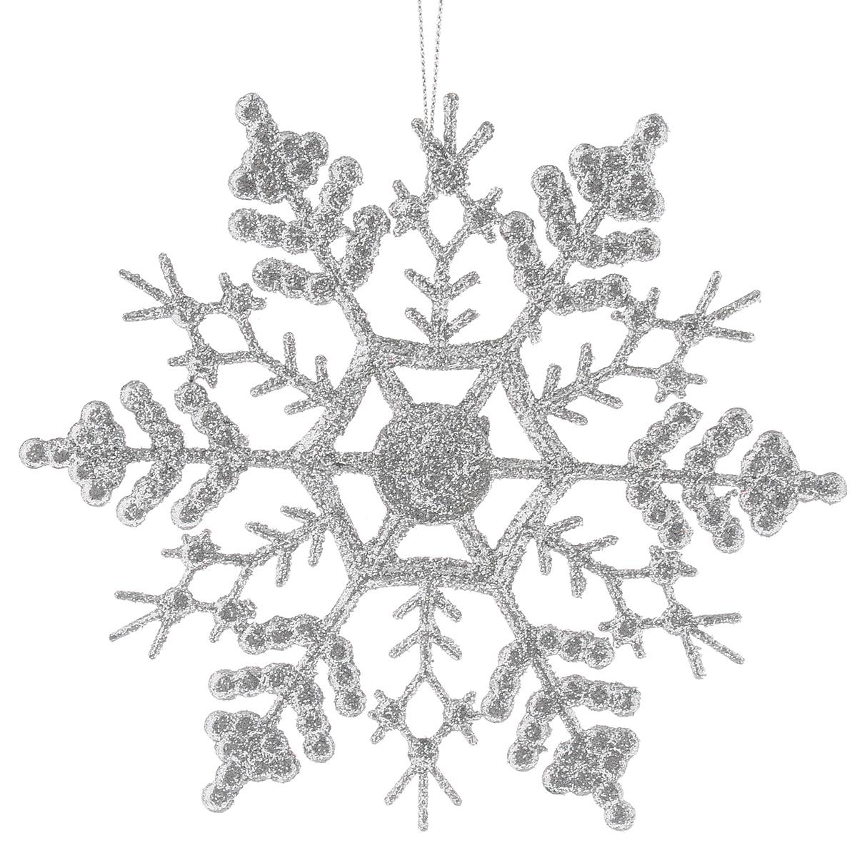 Украшение новогоднее подвесное Magic Time Снежинка-паутинка серебряная, высота 16,5 см38727/75096Новогоднее подвесное украшение Magic Time Снежинка-паутинка серебряная выполнено из полипропилена в виде снежинки и украшено блестками. С помощью специальной петельки украшение можно повесить в любом понравившемся вам месте. Но, конечно, удачнее всего оно будет смотреться на праздничной елке.Елочная игрушка - символ Нового года. Она несет в себе волшебство и красоту праздника. Создайте в своем доме атмосферу веселья и радости, украшая новогоднюю елку нарядными игрушками, которые будут из года в год накапливать теплоту воспоминаний.