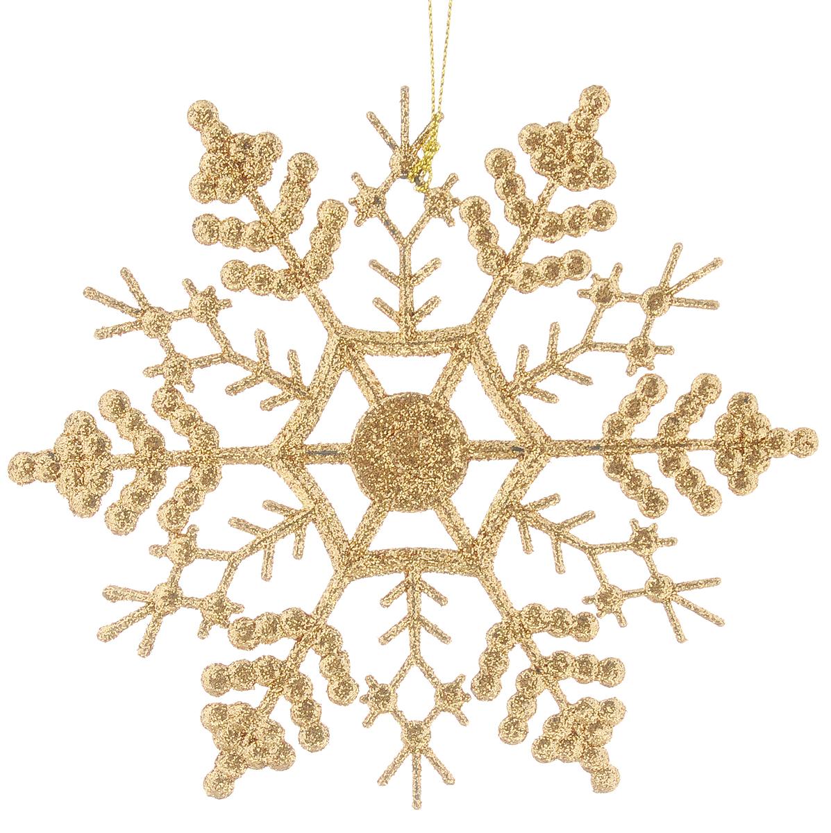 Украшение новогоднее подвесное Magic Time Снежинка-паутинка, цвет: золотой, 16,5 х 16,5 см38726/75095Новогоднее подвесное украшение Magic Time Снежинка-паутинка выполнено из полипропилена в виде снежинки и украшено блестками. С помощью специальной петельки украшение можно повесить в любом понравившемся вам месте. Но, конечно, удачнее всего оно будет смотреться на праздничной елке.Елочная игрушка - символ Нового года. Она несет в себе волшебство и красоту праздника. Создайте в своем доме атмосферу веселья и радости, украшая новогоднюю елку нарядными игрушками, которые будут из года в год накапливать теплоту воспоминаний.Материал: полипропилен.Размер: 16,5 х 16,5 см.
