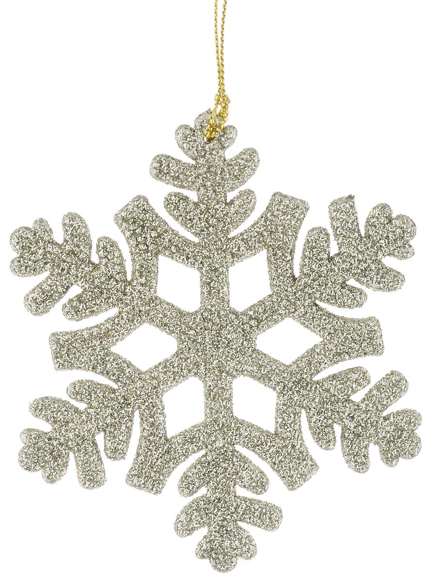 Украшение новогоднее подвесное Magic Time Снежинка, цвет: шампань, 10,5 х 10,5 см38724/75093Новогоднее подвесное украшение Magic Time Снежинка выполнено из полипропилена в виде снежинки и украшено блестками. С помощью специальной петельки украшение можно повесить в любом понравившемся вам месте. Но, конечно, удачнее всего оно будет смотреться на праздничной елке.Елочная игрушка - символ Нового года. Она несет в себе волшебство и красоту праздника. Создайте в своем доме атмосферу веселья и радости, украшая новогоднюю елку нарядными игрушками, которые будут из года в год накапливать теплоту воспоминаний.Материал: полипропилен.Размер: 10,5 х 10,5 см.