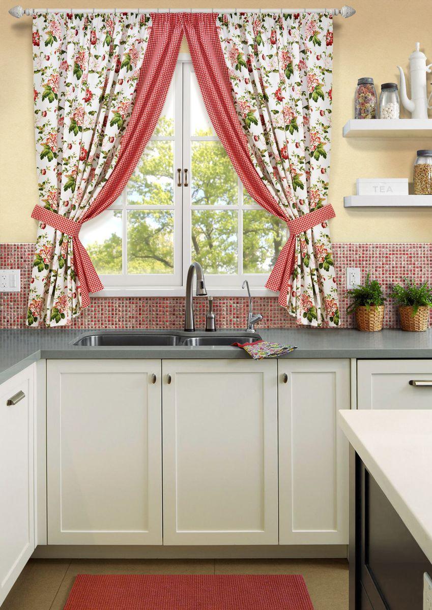 Комплект штор для кухни KauffOrt Лилу, на ленте: 2 портьеры 175 x 175см, 2 подхвата шторы интерьерные kauffort комплект штор barolo s 2 шторы 136х175см 2 подхвата