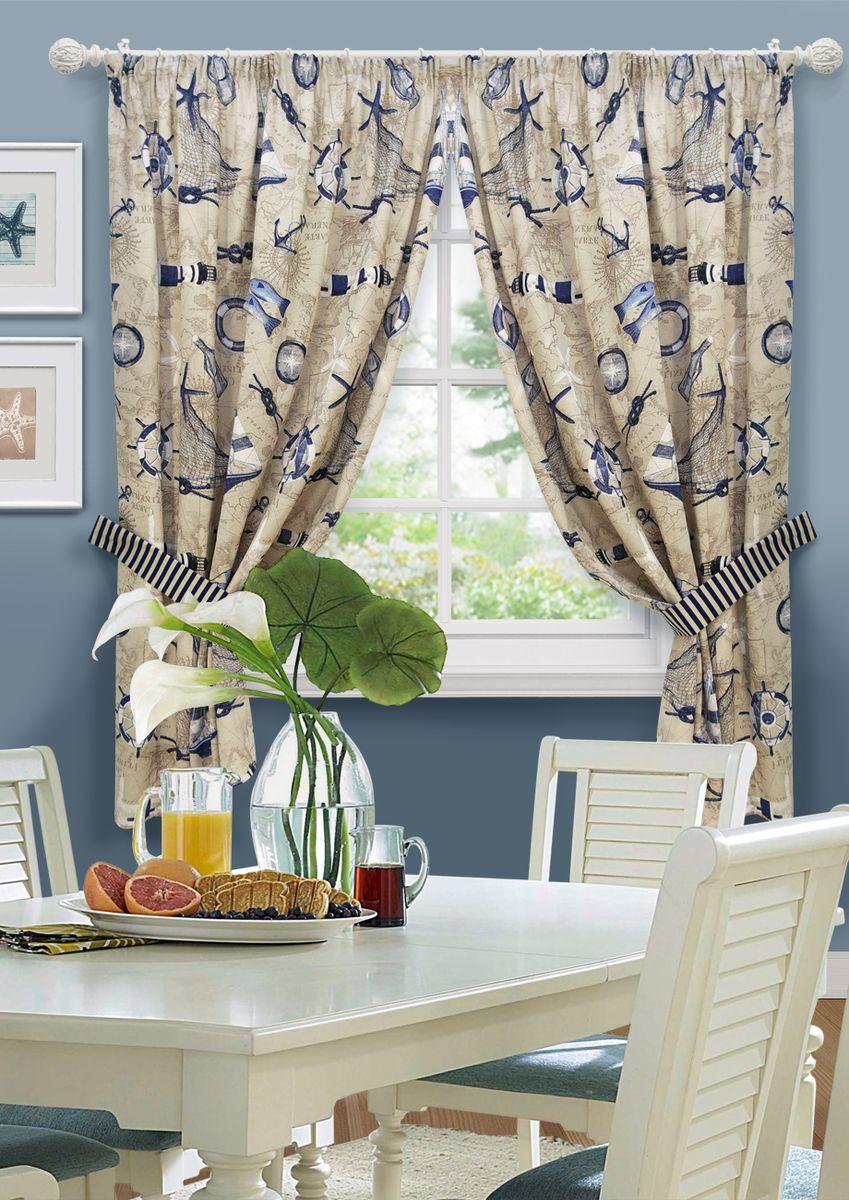 Комплект штор для кухни KauffOrt Фарос, на ленте: 2 шторы 136 x 175 см, 2 подхвата ручная цепная таль тор hs c 101291