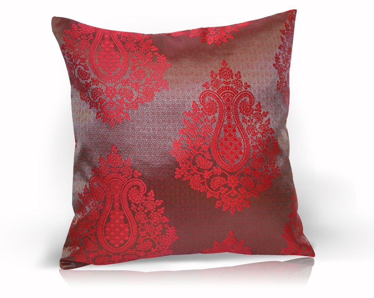 Подушка декоративная KauffOrt Лорель, цвет: темно-красный, 40 x 40 см3121043670Декоративная подушка Лорель прекрасно дополнит интерьер спальни или гостиной. Чехол подушки выполнен из жаккардовой ткани. Внутри находится мягкий наполнитель. Чехол легко снимается благодаря потайной молнии.