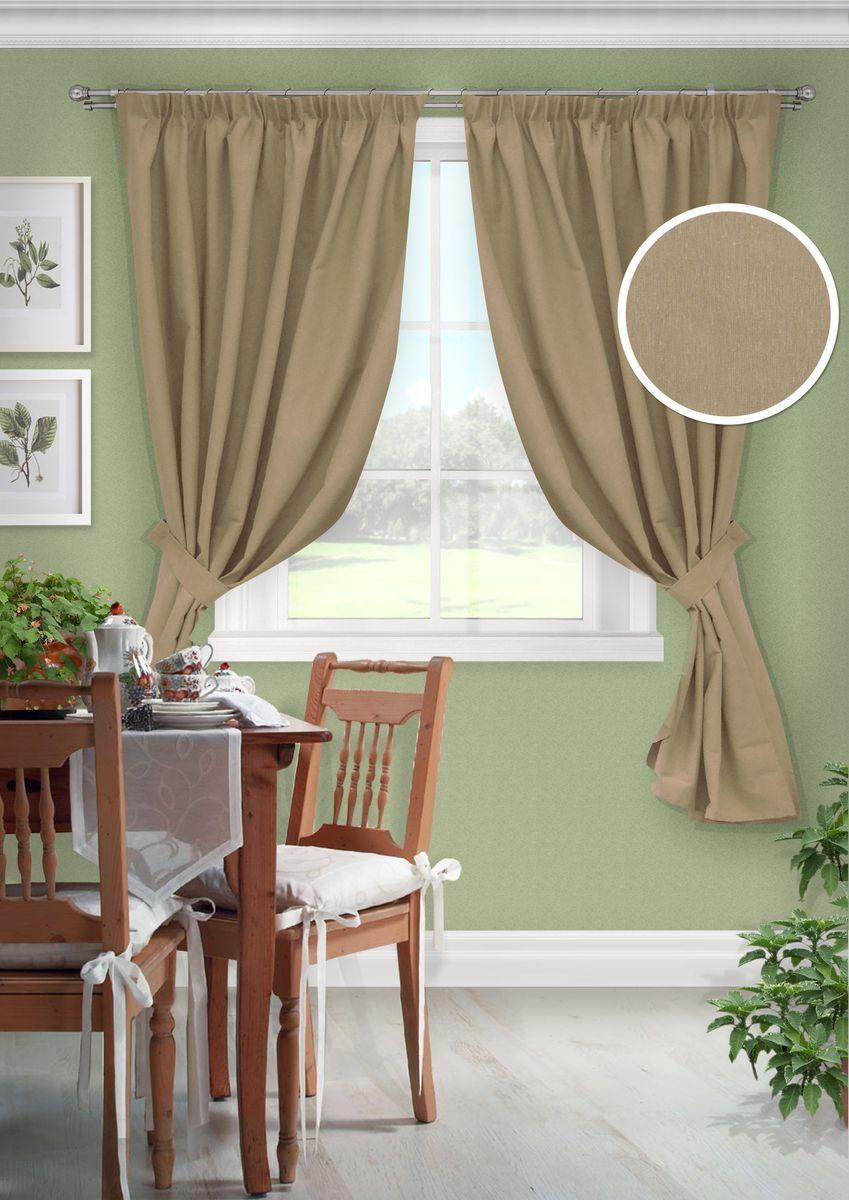 Комплект штор для кухни KauffOrt Натура, на ленте: 2 портьеры 136 x 175 см, 2 подхвата