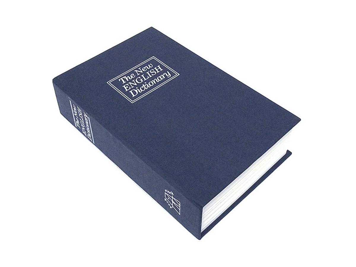 Книга-сейф Эврика Английский словарь, цвет: синий, 24 х 15,5 х 5,5 см94793Этот сейф-шкатулка - точная имитация книги. Будучи поставленным на книжную полку, он ловко затеряется среди настоящей литературы, сохранив в тайне ваши секреты или сбережения.В оформлении применено тиснение серебристой фольгой. Внутри пластикового корпуса находится металлическое хранилище с надёжным замком, к которому прилагается комплект из двух ключей.Размеры: 24 х 15,5 х 5,5 см.