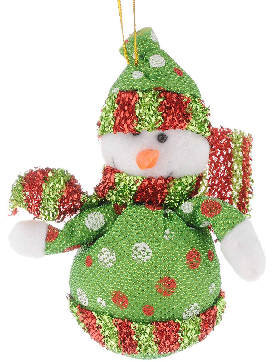 Украшение новогоднее подвесное Феникс-Презент Снеговик зеленый горошек, высота 13 см42531Новогоднее подвесное украшение Феникс-Презент Снеговик зеленый горошек выполнено из полиэстера в виде снеговика. С помощью специальной петельки украшение можно повесить в любом понравившемся вам месте. Но, конечно, удачнее всего оно будет смотреться на праздничной елке.Елочная игрушка - символ Нового года. Она несет в себе волшебство и красоту праздника. Создайте в своем доме атмосферу веселья и радости, украшая новогоднюю елку нарядными игрушками, которые будут из года в год накапливать теплоту воспоминаний.