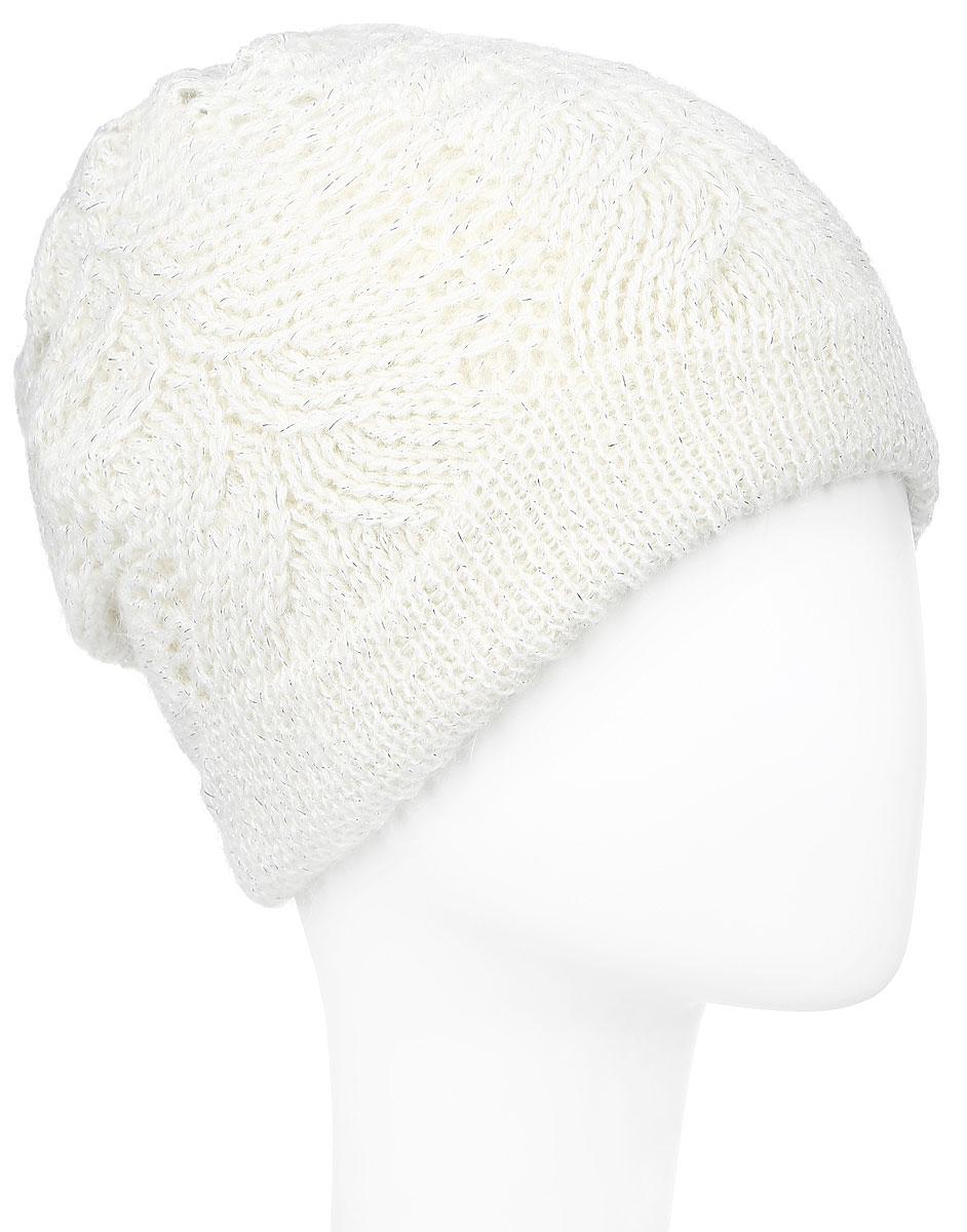 Шапка женская Baon, цвет: молочный. B346507. Размер универсальныйB346507_MILKВязаная женская шапка Baon выполнена из высококачественной комбинированной пряжи из эластичного акрила и теплой шерсти, что позволяет ей великолепно сохранять тепло и обеспечивает высокую эластичность и удобство посадки. Модель оформлена объемным вязаным узором. Шапка дополнена блестящим стильным люрексом, а также металлическим лейблом с логотипом бренда.