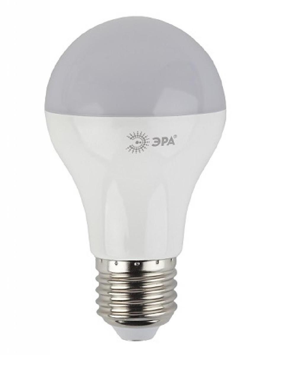 Лампа светодиодная ЭРА, цоколь E27, 170-265V, 10W, 4000К5055945518351Светодиодная лампа ЭРА является самым перспективным источником света. Основным преимуществом данного источника света является длительный срок службы и очень низкое энергопотребление, так, например, по сравнению с обычной лампой накаливания светодиодная лампа служит в среднем в 50 раз дольше и потребляет в 10-15 раз меньше электроэнергии. При этом светодиодная лампа практически не подвержена механическому воздействию из-за прочной конструкции и позволяет получить любой цвет светового потока, что, несомненно, расширяет возможности применения и позволяет создавать новые решения в области освещения.Особенности серии A60:Лампочки лучшие в соотношении цена-качествоПредставлена широкая линейка, наличие всех типов цоколей ламп бытового сегментаСветовая отдача - 90-100 лм/ВтГарантия - 2 годаСовместимы с выключателями с подсветкой.