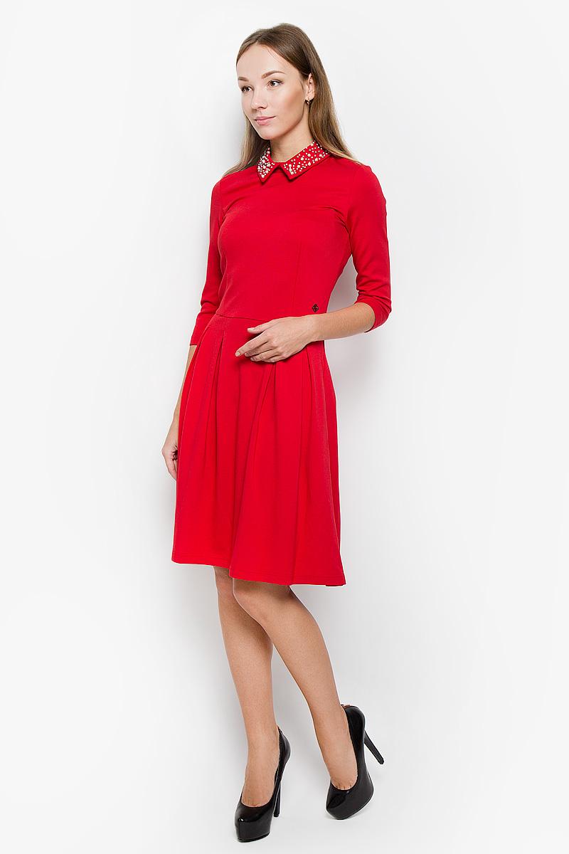 Платье Finn Flare, цвет: красный. W16-170230_309. Размер L (48) платье finn flare цвет серый синий черный w16 11030 101 размер l 48