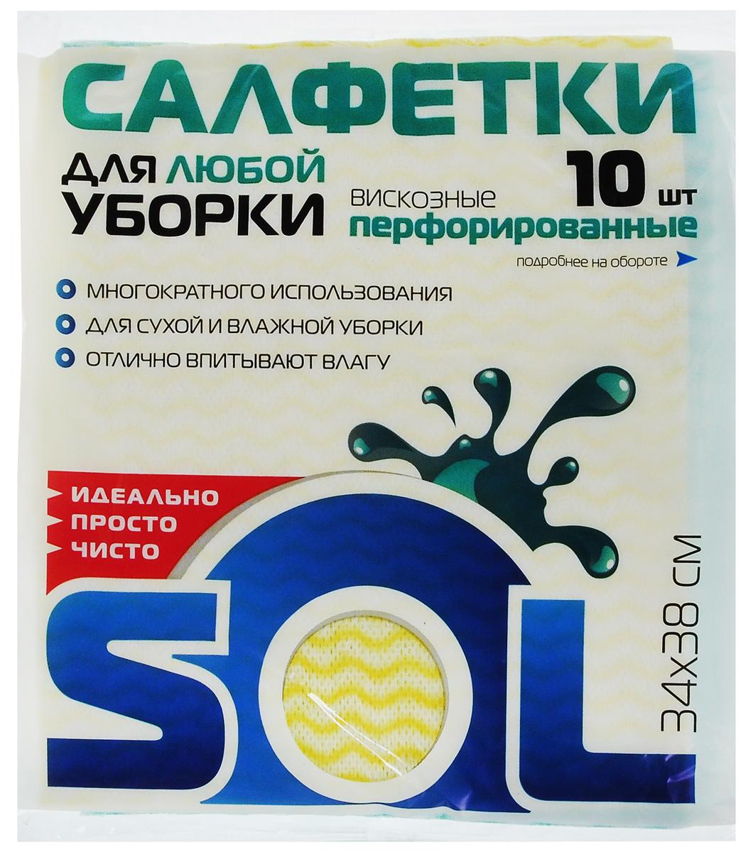 Салфетка для уборки Sol из вискозы, перфорированная, цвет: желтый, зеленый, 34 x 38 см, 10 шт10043Перфорированные салфетки для уборки Sol, выполненные из вискозы и полиэстера,предназначены для уборки и могут применяться с различными моющимисредствами. Эффективно впитывают жидкость. Мягкие и прочные, легкоотжимаются и быстро сохнут.Рекомендации по уходу: Для обеспечения гигиеничности уборки после применения прополоскать в теплойводе.Для продления срока службы не применять машинную стирку, не гладить и некипятить.Комплектация: 10 салфеток.Размер салфетки: 34 х 38 см.