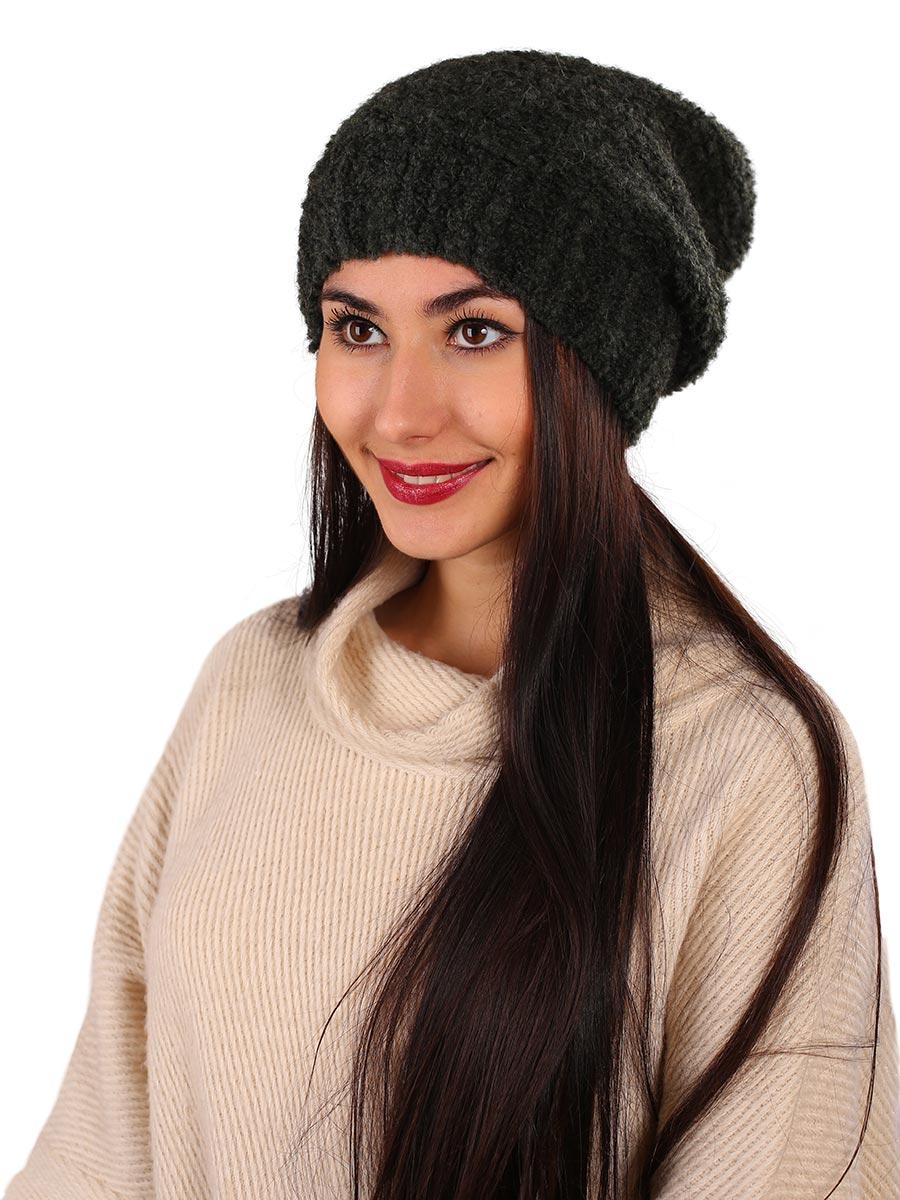 Шапка женская Venera, цвет: темно-зеленый. 9806287-7. Размер универсальный9806287-7Вязаная женская шапка Venera выполнена из высококачественной комбинированной пряжи, что позволяет ей великолепно сохранять тепло и обеспечивает высокую эластичность и удобство посадки. Такая шапка-чулок отлично дополнит повседневный или спортивный образ.