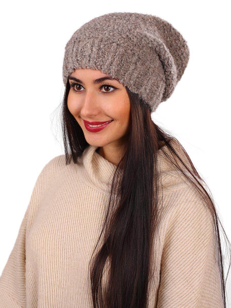 Шапка женская Venera, цвет: тауп. 9806287-4. Размер универсальный9806287-4Вязаная женская шапка Venera выполнена из высококачественной комбинированной пряжи, что позволяет ей великолепно сохранять тепло и обеспечивает высокую эластичность и удобство посадки. Такая шапка-чулок отлично дополнит повседневный или спортивный образ.