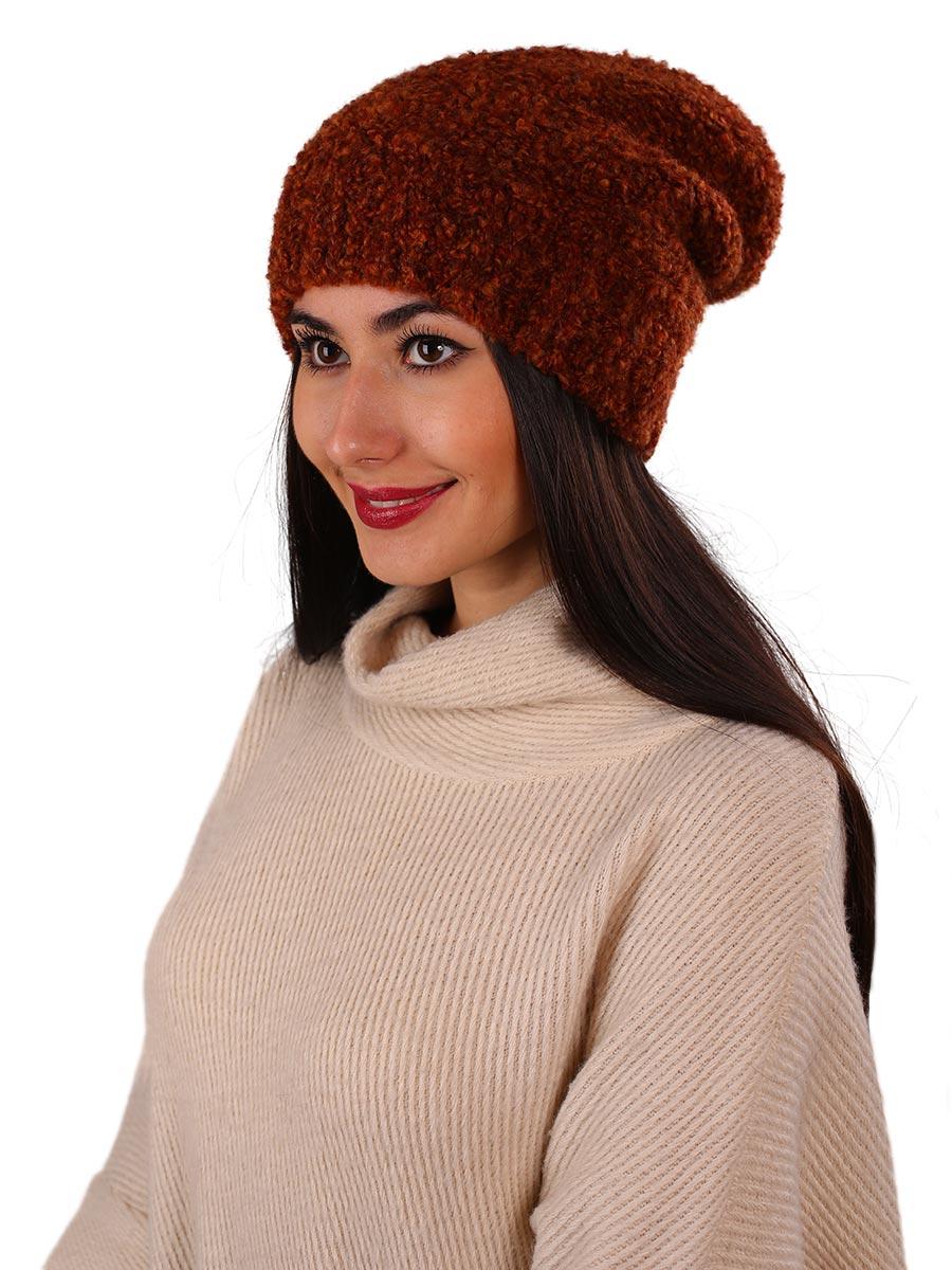 Шапка женская Venera, цвет: терракотовый. 9806287-1. Размер универсальный9806287-1Вязаная женская шапка Venera выполнена из высококачественной комбинированной пряжи, что позволяет ей великолепно сохранять тепло и обеспечивает высокую эластичность и удобство посадки. Такая шапка-чулок отлично дополнит повседневный или спортивный образ.